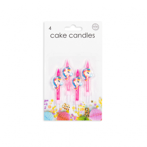 4 Cake candles with Unicorn