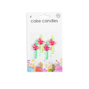 4 Cake candles with Flamingo
