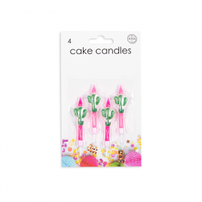 4 Cake candles with Cactus