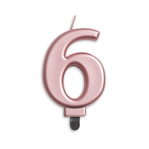 Number candle metallic, rose gold - nr. 6