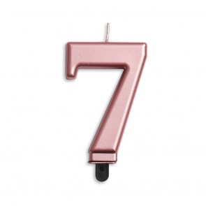 Number candle metallic, rose gold - nr. 7