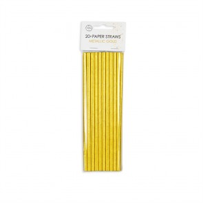 20  Paper straws 6mm x 197mm metallic Gold