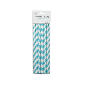 20  Paper straws 6mm x 197mm striped baby blue
