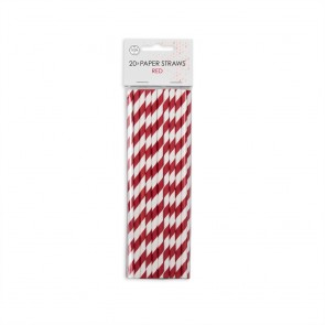 20  Paper straws 6mm x 197mm striped red