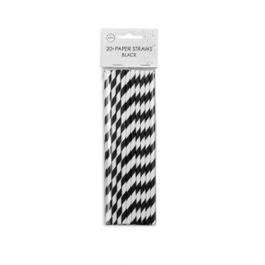 20  Paper straws 6mm x 197mm striped black