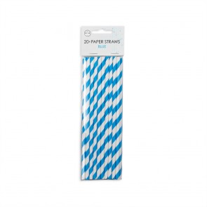 20  Paper straws 6mm x 197mm striped blue