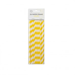 20  Paper straws 6mm x 197mm striped yellow