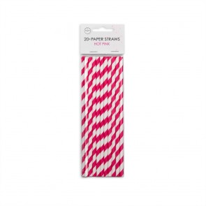 20  Paper straws 6mm x 197mm striped hotpink