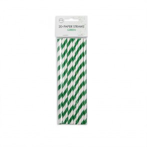 20  Paper straws 6mm x 197mm striped green