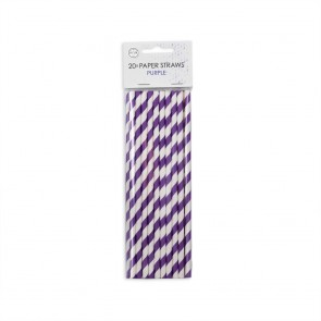 20  Paper straws 6mm x 197mm striped purple