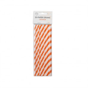 20  Paper straws 6mm x 197mm striped orange