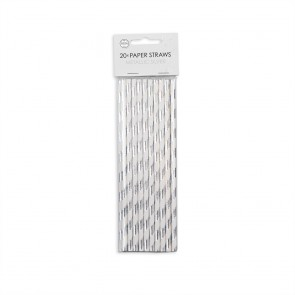 20  Paper straws 6mm x 197mm silver hotstamping