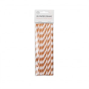 20  Paper straws 6mm x 197mm rose gold hotstamping