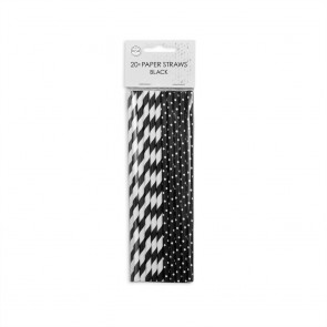 20  Paper straws 6mm x 197mm stripe/dot black