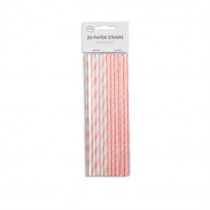 20  Paper straws 6mm x 197mm stripe/dot baby pink