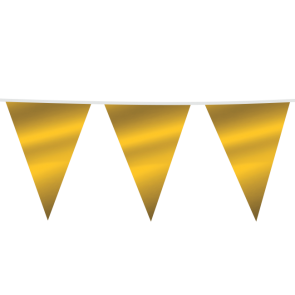 Giant Bunting PE 10m. metallic gold - size flags: 30x45cm
