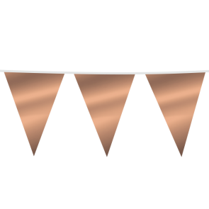 Giant Bunting PE 10m. metallic rose gold - size flags: 30x45cm