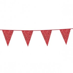 Bunting Glitter 6m. red - size flags 16x20cm