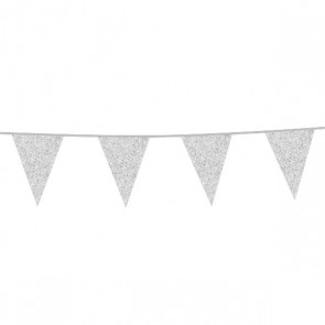 Bunting Glitter 6m. silver - size flags 16x20cm