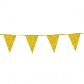 Bunting Glitter 6m. gold - size flags 16x20cm