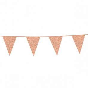Bunting Glitter 6m. rose gold - size flags 16x20cm