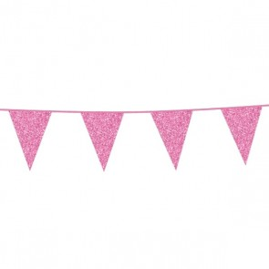 Bunting Glitter 6m. baby pink - size flags 16x20cm