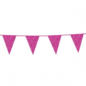 Bunting Glitter 6m. hot pink - size flags 16x20cm
