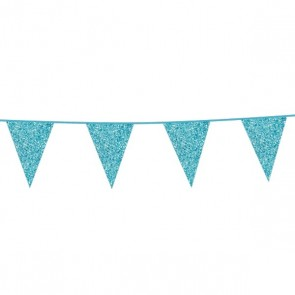 Bunting Glitter 6m. baby blue - size flags 16x20cm