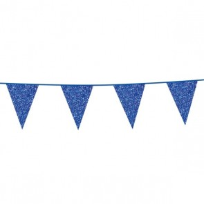 Bunting Glitter 6m. blue - size flags 16x20cm