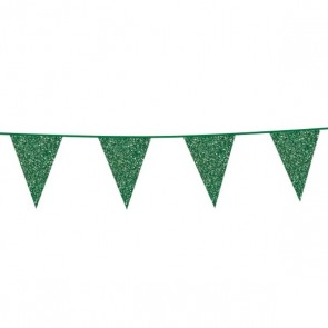 Bunting Glitter 6m. green - size flags 16x20cm