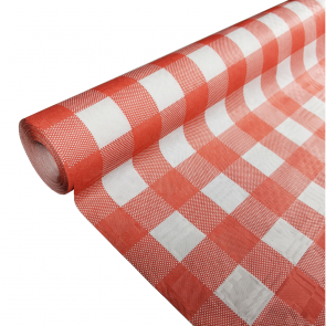 Paper tablecover 1,19x8m red gingham