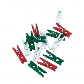 24 Mini pegs wood - red / white / green