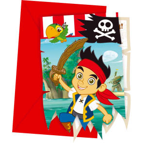 6 Die-cut Invitations & Envelopes - Jake and the Neverland Pirates
