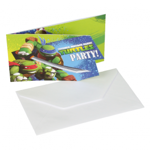 6 Die-cut Invitations & Envelopes - Ninja Turtles