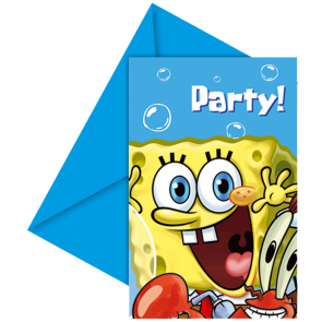 6 Die-cut Invitations & Envelopes - Spongebob