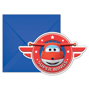 6 Die-Cut Invitations & Envelopes - Super Wings