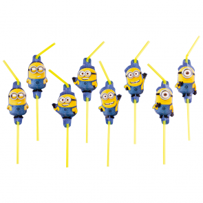 6 Medallion Flexi Drinking Straws - Minions