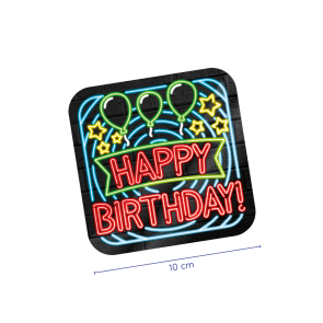 Neon Coasters - Happy birthday