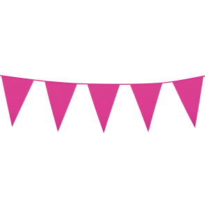 Bunting PE 10m. hot pink - size flags: 20x30cm