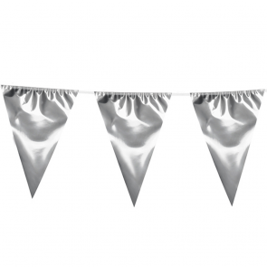 Giant Bunting metallic 10m. silver - size flags: 30x45cm