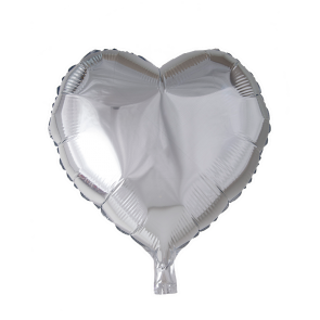 foilballoon heartshape, 18'' - silver, bulkpacked