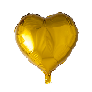 foilballoon heartshape, 18'' - gold, bulkpacked