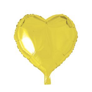 foilballoon heartshape, 18'' - yellow, bulkpacked