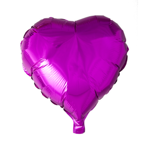 foilballoon heartshape, 18'' - hot pink, bulkpacked