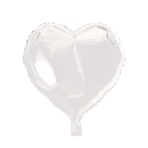 foilballoon heartshape, 18'' - white, bulkpacked