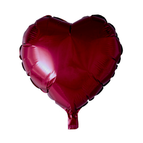 foilballoon heartshape, 18'' - burgundy, bulkpacked
