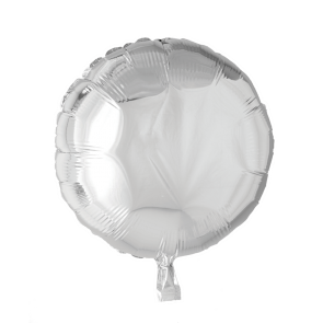 Foilballoon round, 18'' - silver, bulkpacked
