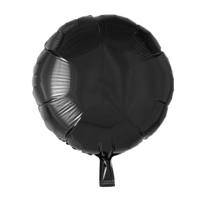 Foilballoon round, 18'' - black, bulkpacked