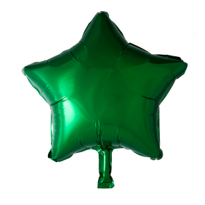 Foilballoon star, 18'' - green, bulkpacked