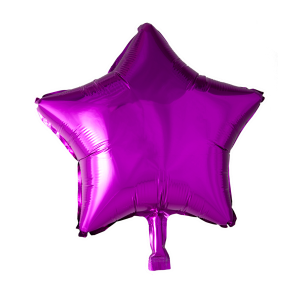 Foilballoon star, 18'' - hot pink, bulkpacked